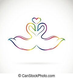Vector image of two loving swans on white background.