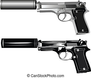 pistols - Vector image of two pistols on white background