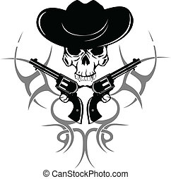 skull in hat - Vector image of two revolvers and skull in...
