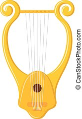 Vector image of vintage Lyre on a white background. Ancient Greek music string instrument.