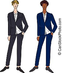 Vector image of young men in business suits - Vector drawing...