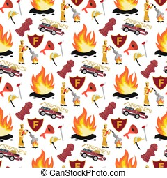 Vector image Pattern Firefighter and Fire Truck