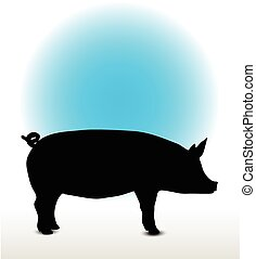 pig silhouette - Vector Image, pig silhouette, in Curl Tail ...