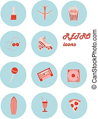 Vector image set of retro icons