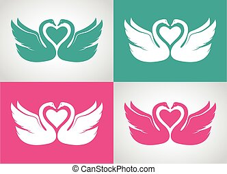 Vector image set of two loving swans design