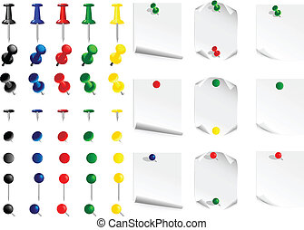 push pin - Vector image set  push pin and leaves for notes