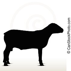 sheep silhouette with standing still pose - Vector Image -...