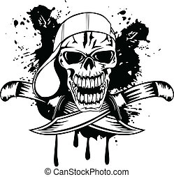 skull in cap and knifes