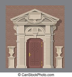vector image, stone entrance of house - vector image of...