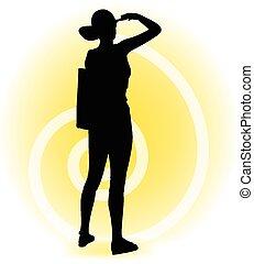 Tourist woman silhouette with handbag and sunglasses -...