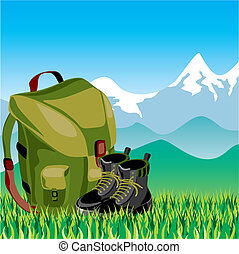 Travel backpack - Vector Image Travel backpack and shoes in...