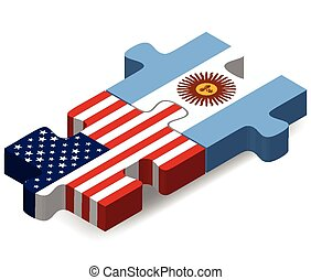 USA and Argentina Flags in puzzle - Vector Image - USA and ...