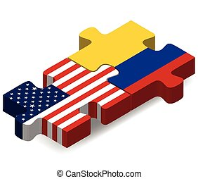 USA and Colombia Flags in puzzle - Vector Image - USA and...