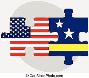 USA and Curacao Flags in puzzle - Vector Image - USA and ...
