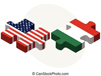 USA and Hungary Flags in puzzle - Vector Image - USA and...