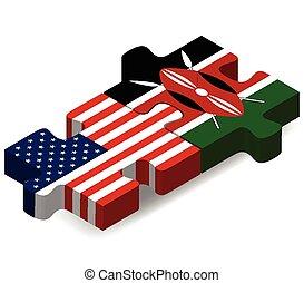 USA and Kenya Flags in puzzle - Vector Image - USA and Kenya...