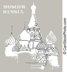 Vector image with Saint Basil's Cathedral in Moscow