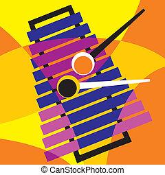 xylophone - vector image xylophone. Stylization of color...