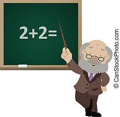 vector, imagen, de, el, caricatura, sonriente, profesor