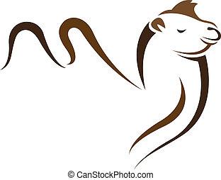 vector, imagen, de, un, camello