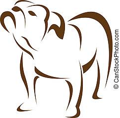 vector, imagen, de, un, perro, (bulldog)