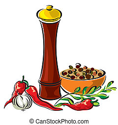 vector images mills for spices and seasonings