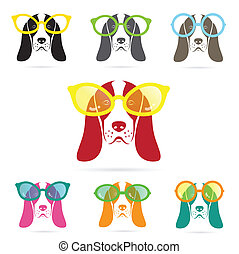 Vector images of basset hound dog wearing glasses on white...