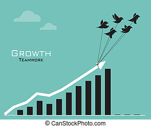Vector images of birds and business graph