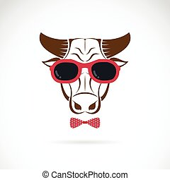 Vector images of bull wearing sunglasses on white background...