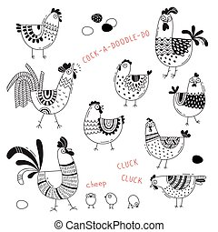 Vector images of chickens, hens, cocks, eggs in cartoon...