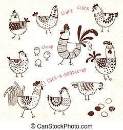 Vector images of chickens, hens, cocks, eggs in cartoon ...