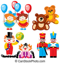 toys - twins - vector images of children\\\'s toys - twins