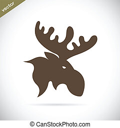 Vector images of moose deer head on a white background.