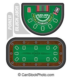 Vector images of Poker and Blackjack Tables