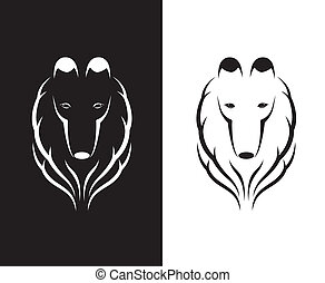 Vector images of shetland sheepdog head on a white and black background.
