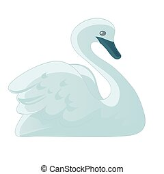 Vector images of swan in a simple style on a white background.
