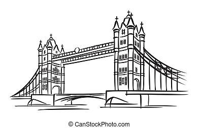 vector images of Tower Bridge in London