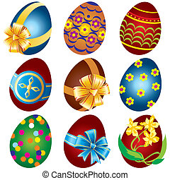Easter eggs - Vector images painted Easter eggs