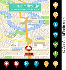 vector imaginary city navigator screen