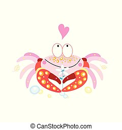 Vector in love funny crab on a white background