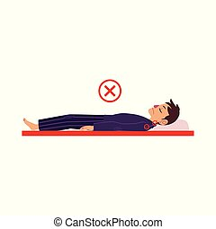 vector incorrect back sleeping posture of man