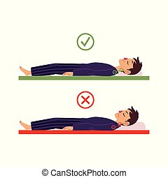 vector incorrect correct back sleeping man posture