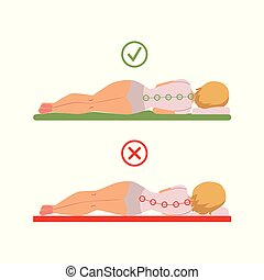 vector incorrect correct sleeping posture of woman