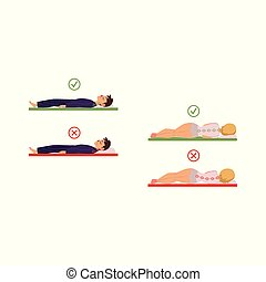vector incorrect sleeping posture of man, woman