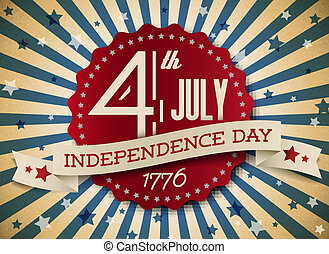 Vector independence day badge / poster - retro vintage ...