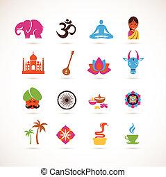 vector, india, colección, iconos