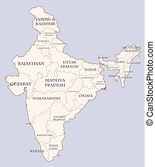 India contour map with states