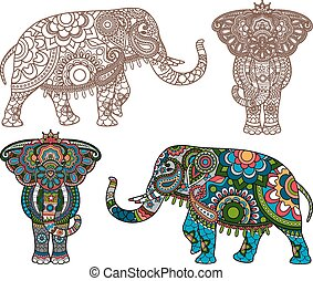 Vector Indian elephant - Vector decorated Indian Elephant ...