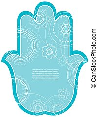 Vector Indian hand drawn hamsa with ethnic ornaments