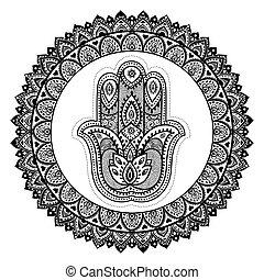 Vector Indian hand drawn hamsa with ornaments